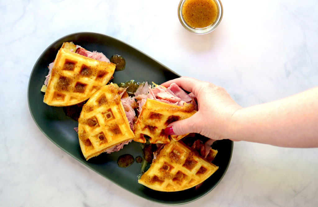 Image for Waffles with Ham, Gruyere and Maple-Mustard-Apple Sauce