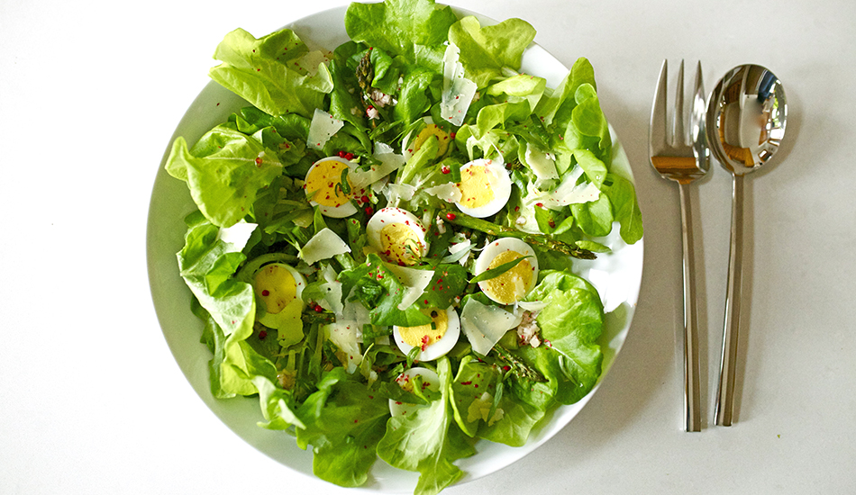 Image for Local Summer Salad with Asparagus & Pink Peppercorn Vinaigrette