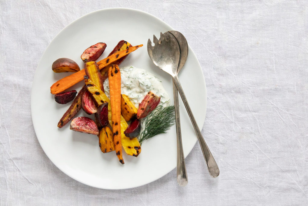 Image for Grilled Brined Carrots and Beets with Yogurt Dill Sauce