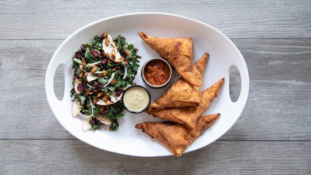 Image for Autumn Harvest Sambusas & Kale Salad With Apple Maple Corn Vinaigrette