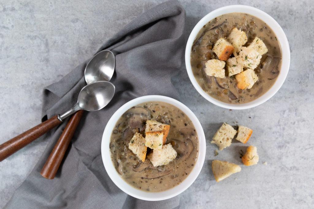 Image for Creamy Mushroom Lentil Soup with Sourdough Croutons