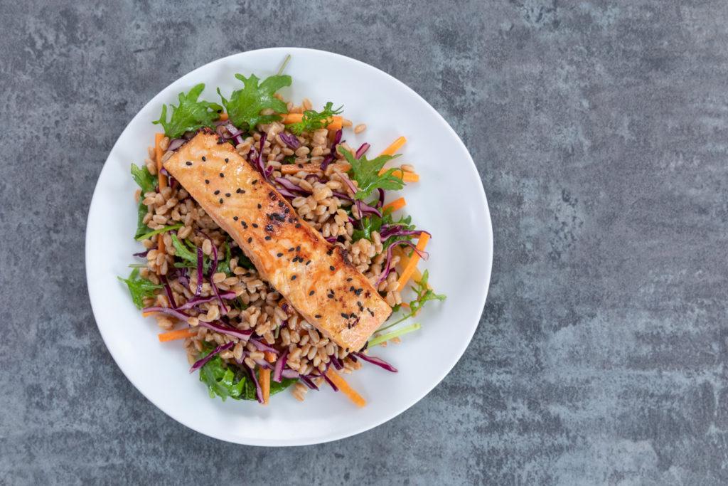 Image for Salmon Farro Salad with Creamy Wasabi Dressing