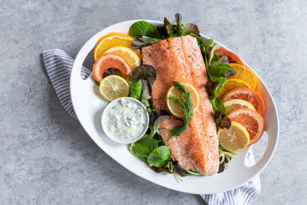 Image for Slow Roasted Citrus Salmon with Lemon-Mint Yogurt