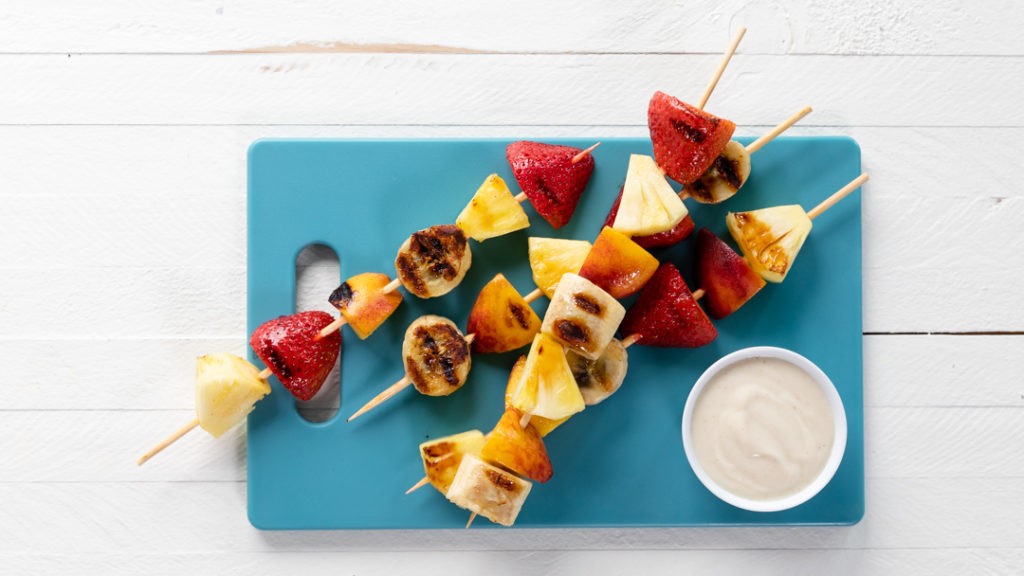 Image for Grilled Fruit Kabobs with Cinnamon-Maple Yogurt