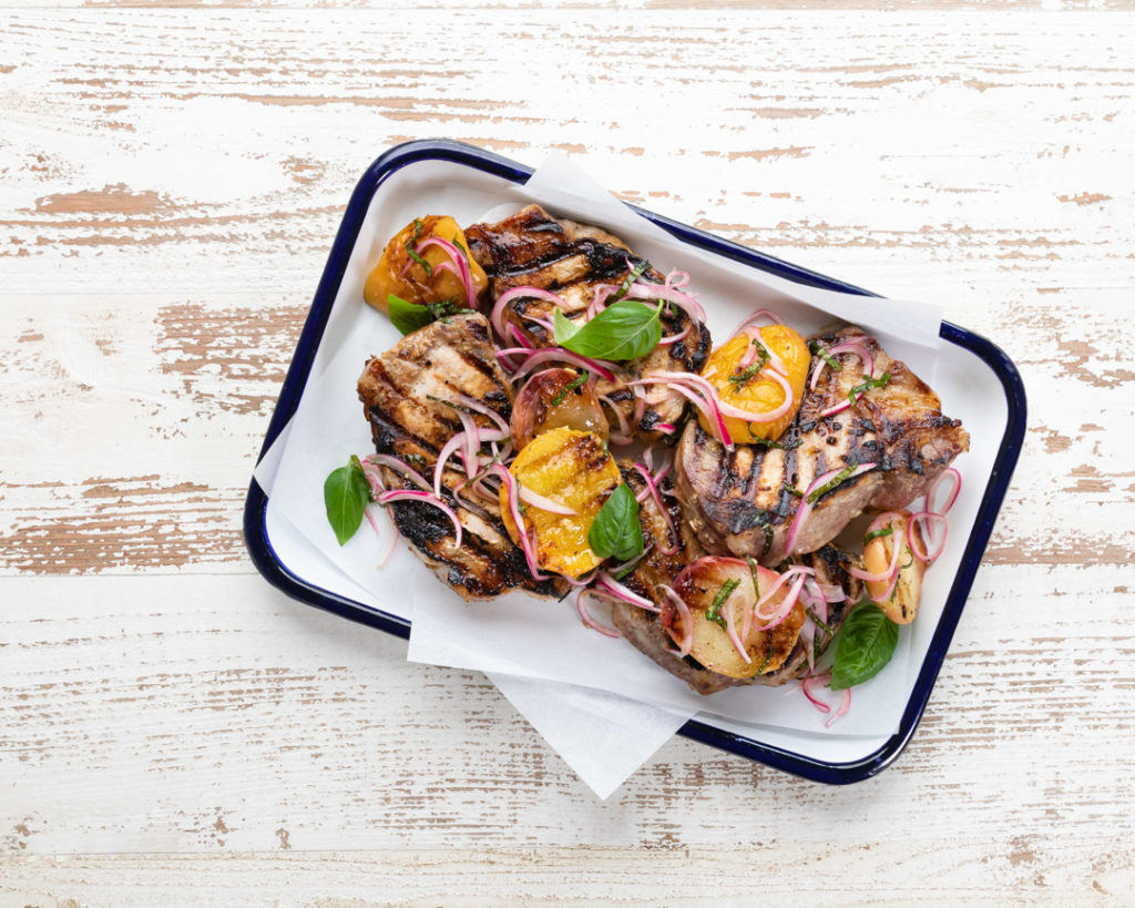 Image for Grilled Pork Chops and Peaches