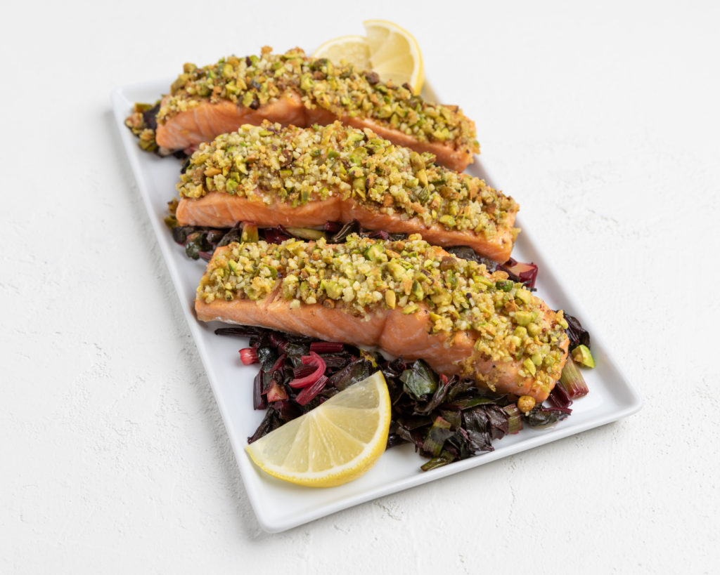 Image for Pistachio Crusted Salmon with Wilted Greens