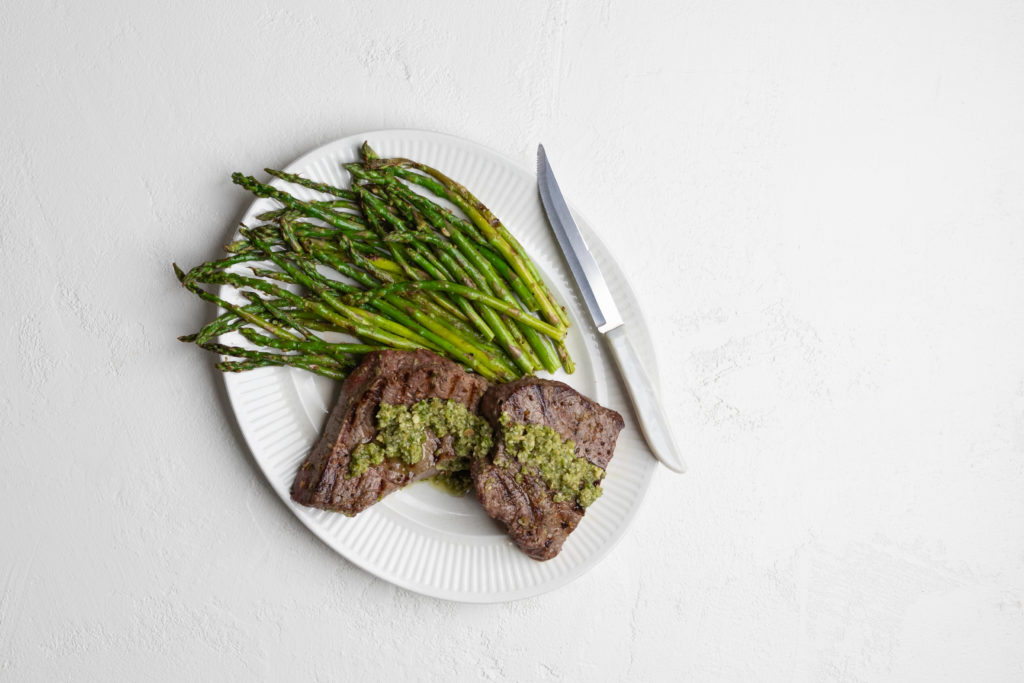 Image for Grilled Sirloin Steak with Pesto and Asparagus