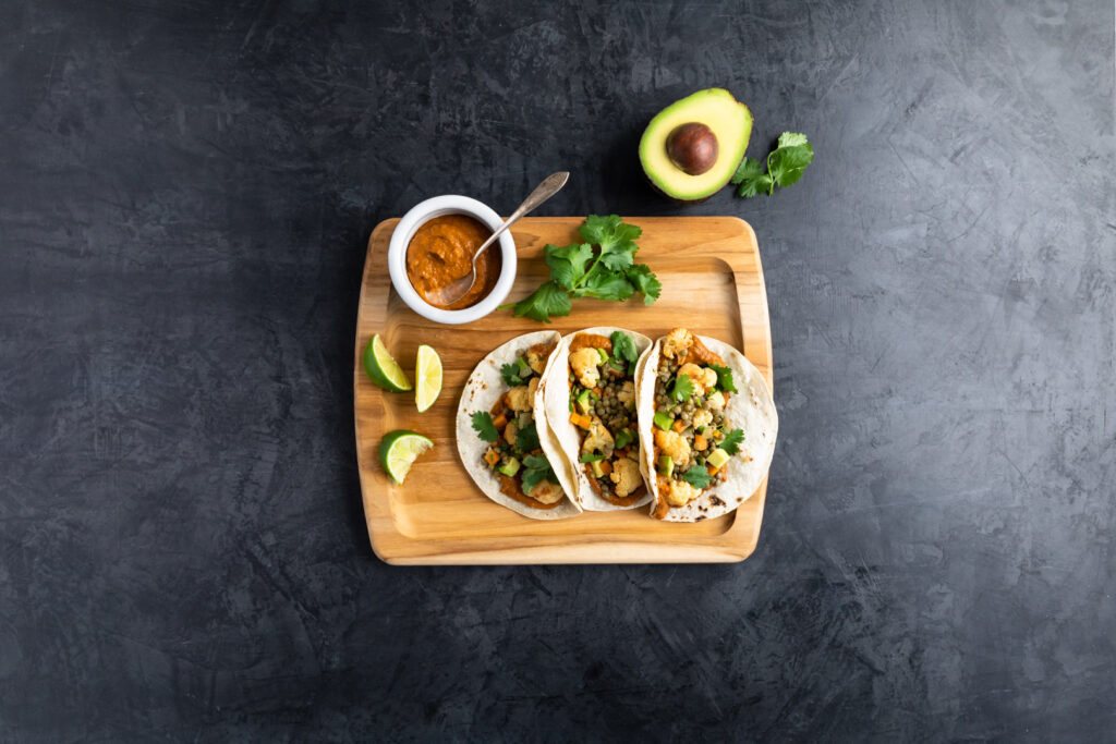 Image for Lentil and Cauliflower Tacos with Avocado