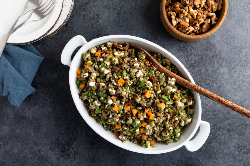 Image for Lemony Marinated Lentils with Walnuts and Goat Cheese