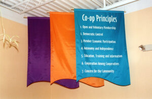 A Banner Lists the Lakewinds Co-op Principles