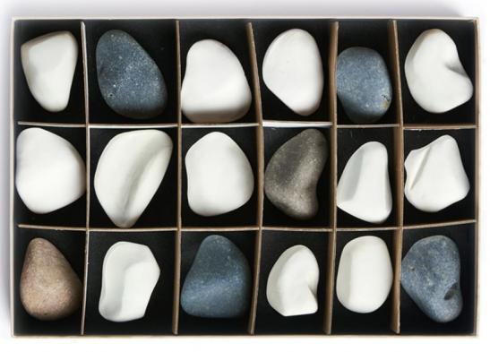 a box of river stones