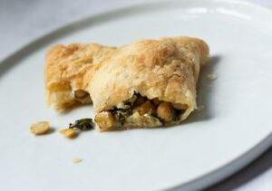 Plated Chickpea Puff Pastry for Lunch
